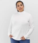Top blanco de cuello alto y manga larga de ASOS DESIGN Curve