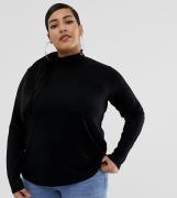 Top negro de manga larga y cuello alto de ASOS DESIGN Curve