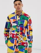 Camisa Oxford de corte estándar personalizado con botones y estampado ...