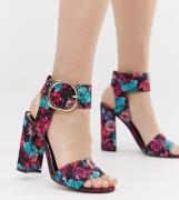 Sandalias de tacón con detalle de hebilla y estampado de flores de Riv...