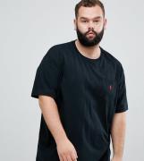 Polo con cuello redondo y logo de jugador en negro Big & Tall de Polo ...