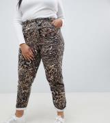 Vaqueros Mom rígidos con estampado de leopardo abstracto Ritson de ASO...